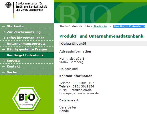 Screenshot: Oelea Olivenöl in der Bio-Siegel Datenbank des Bundesministeriums für Ernährung, Landwirtschaft und Verbraucherschutz